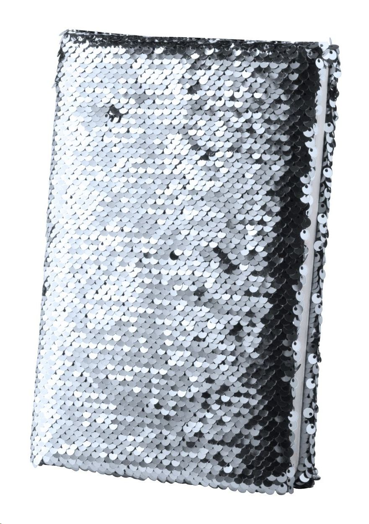 Rokovnik sa šljokicama, B7, bez crta, srebrni