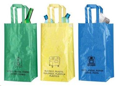 Torbe za odlaganje reciklažnog otpada, 3 kom, žuta-plava-zelena
