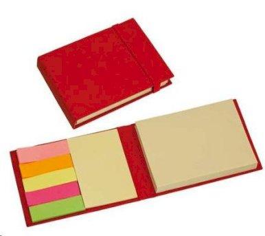 Blok, s ljepljivim papirićima, od recikliranog materijala, crveni