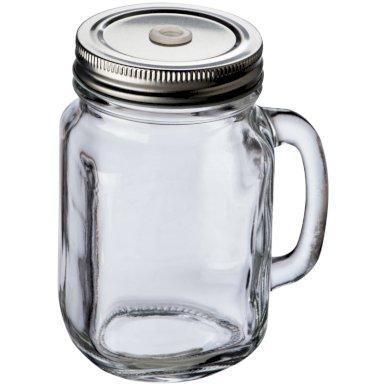 Čaša s metalnim poklopcem, 450ml, staklena