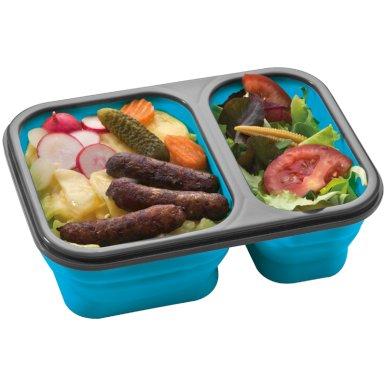 Posuda za hranu, sklopiva, silikonska, velika, plava