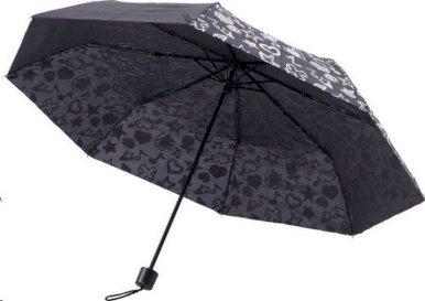 Kišobran, sklopivi, crni, otisnuti motiv mijenja boju u dodiru s kišom