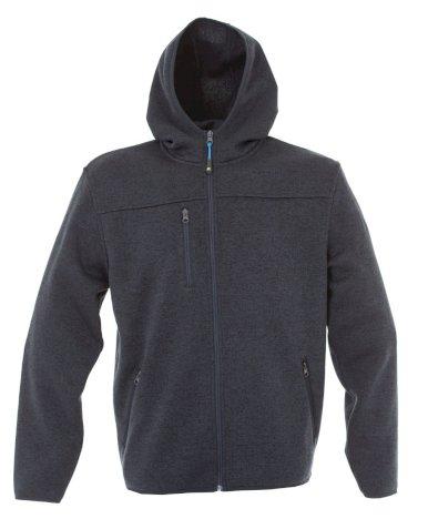 Pulover Quebec, pleteni, zip, s kapuljačom, plavi, XXL