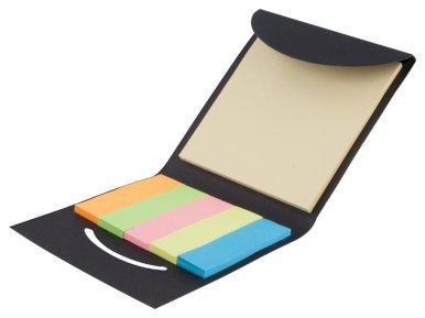 Papirići za označavanje stranica, raznobojni, crni etui