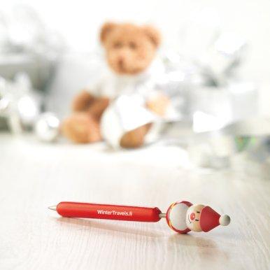 Kem. olovka, drvena, crvena, Božićni motiv