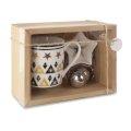 Božićni set, šalica, filter za čaj, tanjurić