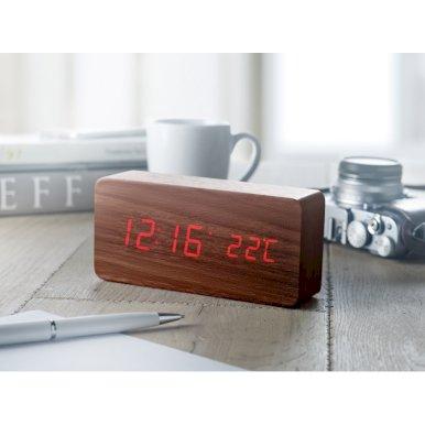 Sat, budilica, s prikazom temperature, smeđi