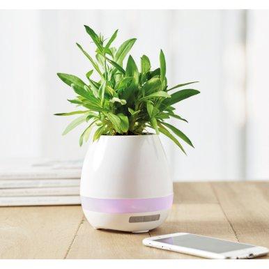 Teglica za cvijeće/zvučnik, wireless, svjetleći, bijeli