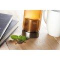 Boca staklena s cjedilom za čaj, 500 ml, neopren navlaka, crna