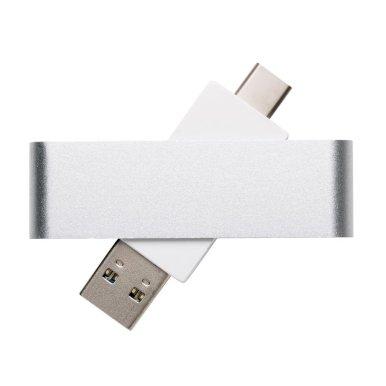 USB, srebrno/bijeli, 8GB, uključuje C priključak, srebrni
