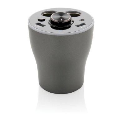 Punjač za auto, oblik šalice, s ugrađenom slušalicom, sivi