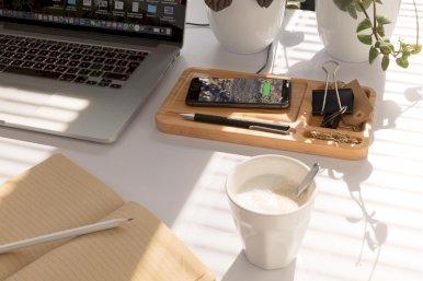 Organizator za stol, s bežičnim punjačem, bamboo
