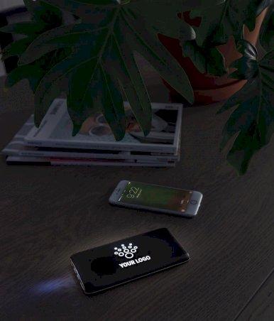 Powerbank 8000 mAh, s bežičnim punjenjem, sa svijetlećim logom, crni