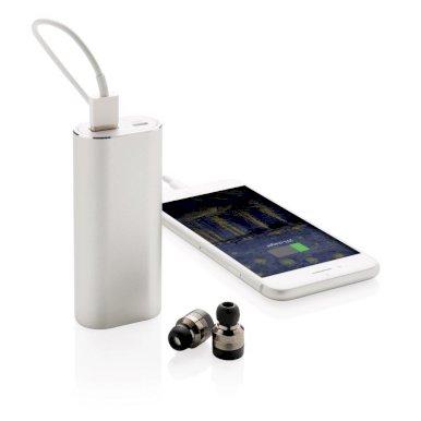 Slušalice, bežične, sa powerbankom, 2000mAh, srebrne