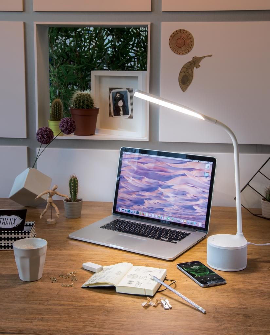 Lampa, LED,  USB punjenje, sa zvučnikom, bijela