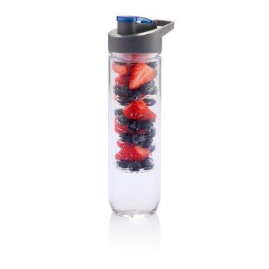 Boca za vodu, sa umetkom za voće, plastična, plavi čep, 800ml