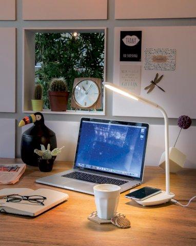 Lampa stolna s bežičnim punjačem, bijela