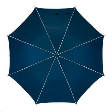 Kišobran, automatski, zakrivljena drvena ručka, crno/sivi