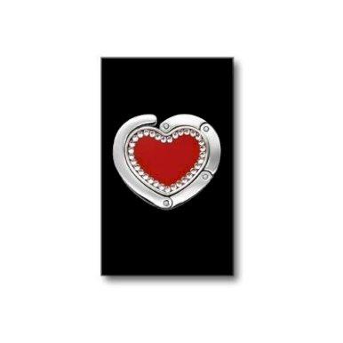 Vješalica za torbu u obliku srca sa Swarovski kristalima crvena - IZ PROGRAMA