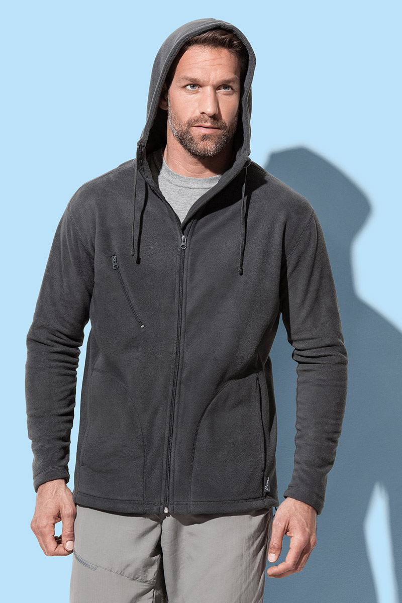 Jakna, Active hooded Fleece, 220 gr, black, S