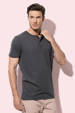 Majica, muška, SHAWN Henley, KR, okrugli izrez i gumbi, 140 gr., crna, L