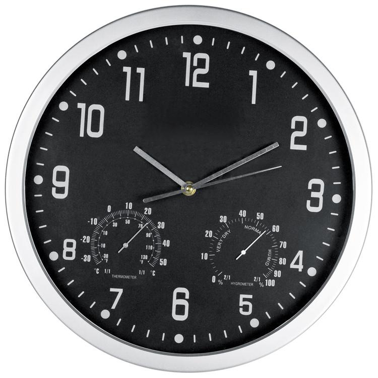 Sat, zidni, s termometrom i hidrometrom, crni