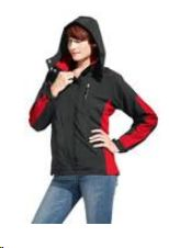 Jakna, Women's Windbreaker, black/red,