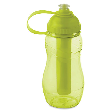 Boca, plastična ,400 ml s tubicom za hlađenje, zelenožuta