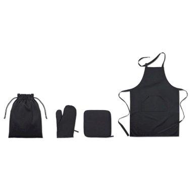 Kuhinjski set, pregača, rukavica i podmetač, crni