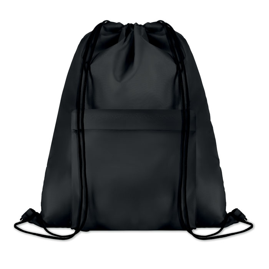 Ruksak za papuče sa špagicama, 210D polyester, crni