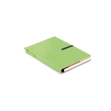 Rokovnik A6 od recikliranog papira, 70 stranica, zeleni