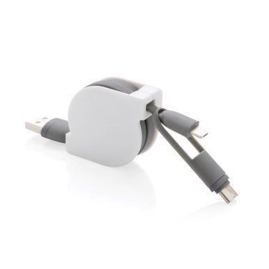 USB kablovi za punjenje,  typ C , iOS, 3 u 1 izvlačni, bijelo-sivi