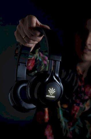 Slušalice, bežične, svjetleći logo, crne