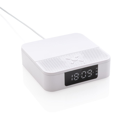 Bežični punjač sa satom i alarmom, bijeli