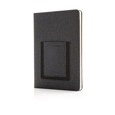 Rokovnik Deluxe A5, s pretincem za mobitel, crni