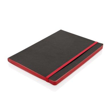 Rokovnik, deluxe, A5, s fleksibilnim koricama, obojani rub, crveni