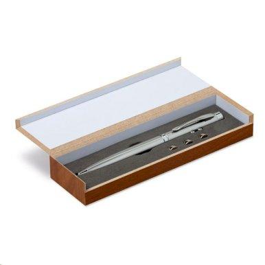 Kem. olovka, laser, u drvenoj kutijici, srebrna