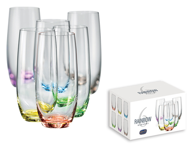 Čaše , Rainbow, za vodu, set ,350ml