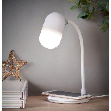 Lampa, bežična , sa zvučnikom, Wireless charging,  bijela