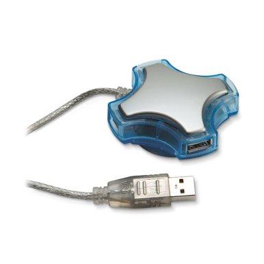 USB hub, 4 izlaza, 75 cm kabel, USB 1.1, plavi