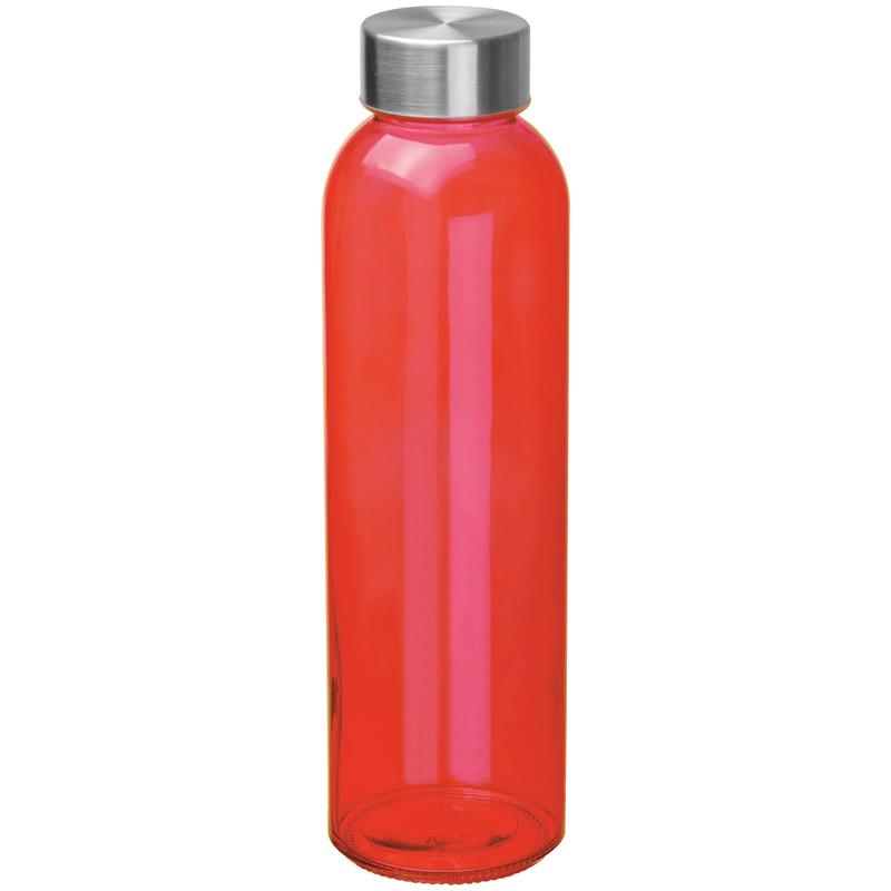 Boca za vodu, staklena, 500ml, crvena