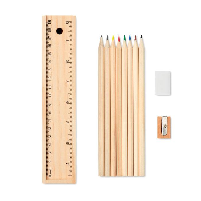 Set za crtanje, bojice, ravnalo, šiljilo i gumica, drveni
