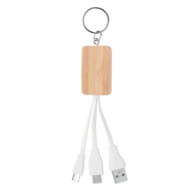 Privjesak bambo s USB kablovima, s tipom C, natural