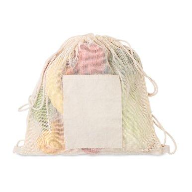 Ruksak za hranu sa špagicama, prednji džep od pamuka 170gr,mrežasti 103gr,natural