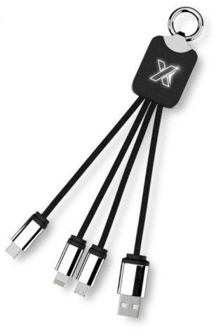 Kabel za punjenje  3 u 1 , sa svijetlećim logom, tipom C,crni