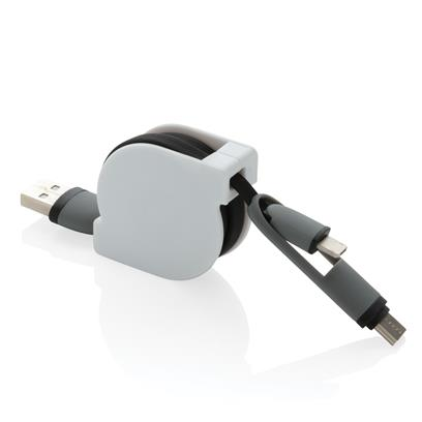 USB kablovi za punjenje,  typ C , iOS, 3 u 1 izvlačni, bijelo-crni
