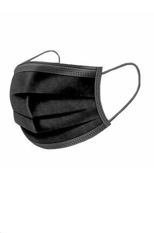 Jednokratna troslojna medicinska  maska za lice, crna,  pak. 10/50/2000