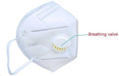 Zaštitna  maska za lice  s ventilom, KN95, peteroslojna, bijela