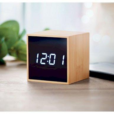 Sat budilica  s LED dispejem,  bambus  mini