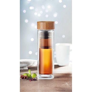Boca za čaj s dodacima,  staklena, dupla stjenka, 420 ml
